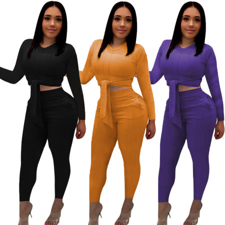 Pure colour knitted two-piece suit  three-colour