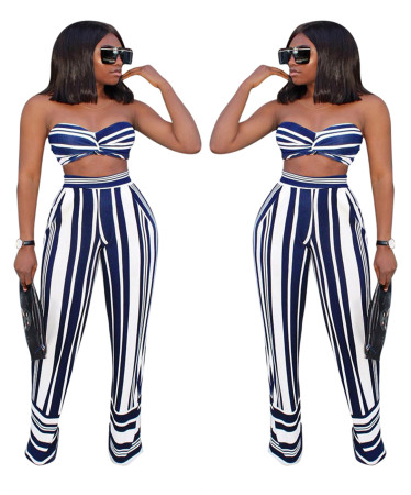 Stripe bra + trousers two-piece suit