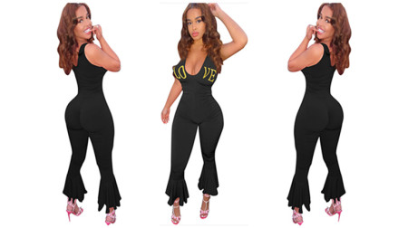 Golden lettered bell Jumpsuits