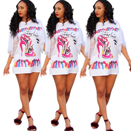 Screen sleeve T-shirt printed casual dress