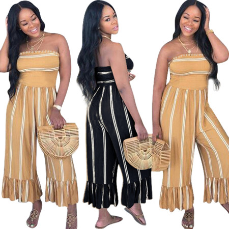 Fashion Leisure Stripes Colour Jumpsuits