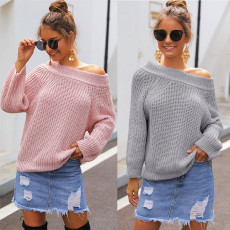 Loose sweater with bare shoulder, thick needle and large collar