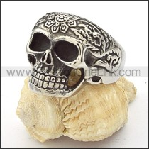 Stainless Steel Flower Design Skull Ring r000355