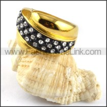 Gold Cover Stainless Steel Ring with Rhinestones r000196