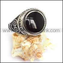 Vintage Stainless Steel Stone Ring  r003599