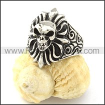 Stainless Steel Wicked Skull Ring r000837