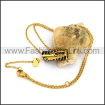 Gold Hollow Cylinder Plated Necklace n001084