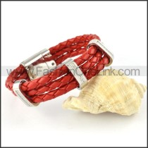 Silver Hasp Red Leather Bracelet b000451
