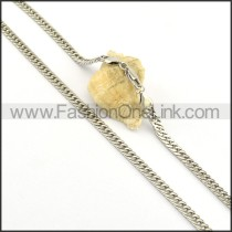 Simple Silver Stamping  Necklace n000593