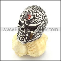 Stainless Steel Red Stone Skull Ring  r000513