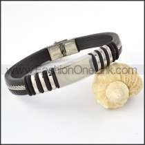 Silver Hasp Black Leather Bracelet b000449