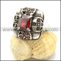 Vintage Stone Stainless Steel Ring r002598