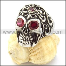 Stainless Steel Red Eyes Skull Ring r000855