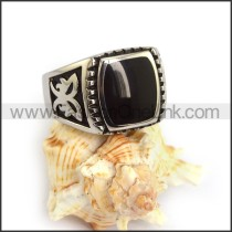 Vintage Stainless Steel Stone Ring  r003601