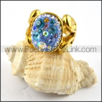 Gold Plated Stainless Steel Rhinestone Ring r000191