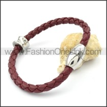 Silver Bead Dark Red Leather Bracelet b000575
