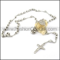 Delicate Cross Rosary Necklace with Silver Beads     n000273