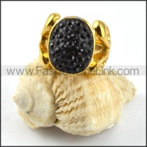 Gold Stainless Steel Black Rhinestone Ring r000190