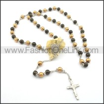 Black and Gold Rosary Necklace n000728