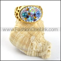 Rhinestone Ring in Gold Stainless Steel  r000189