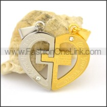 Delicate Stainless Steel Couple Pendant   p002422