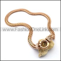 Rose Gold Ring Stamping Necklace n001021