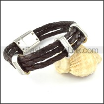 Silver Hasp Black Leather Bracelet b000455