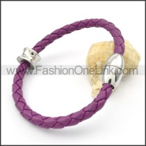 Silver Bead Purple Leather Bracelet b000574