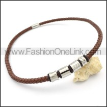 Brown Leather Necklace    n000105