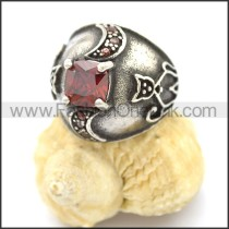 Vintage Stone Stainless Steel Ring r002597
