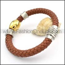 Gold Bead Brown Leather Bracelet b000576