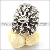 Stainless Steel Wild Man Skull Ring r000700