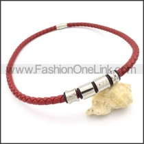 Red Leather Necklace     n000106