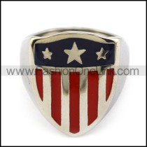 Stainless Steel Shield Ring with American Flag Pattern r003936