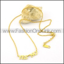 Golden YES NO Fashion Necklace    n000473