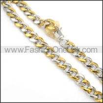 Succinct Two Tone Plated Necklace    n000133