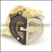 Delicate Stainless Steel Couple Pendant   p002423