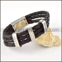 Silver Hasp Black Leather Bracelet b000452