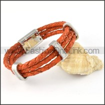 Silver Hasp Orange Leather Bracelet b000454