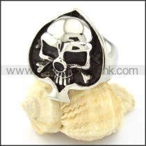 Stainless Steel Black Ace of Heart Shaped  Skull Ring r000695