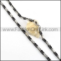 Silver and Black Biker Chain Necklace   n000051