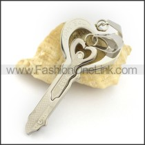 Delicate Stainless Steel Couple Pendant   p002424