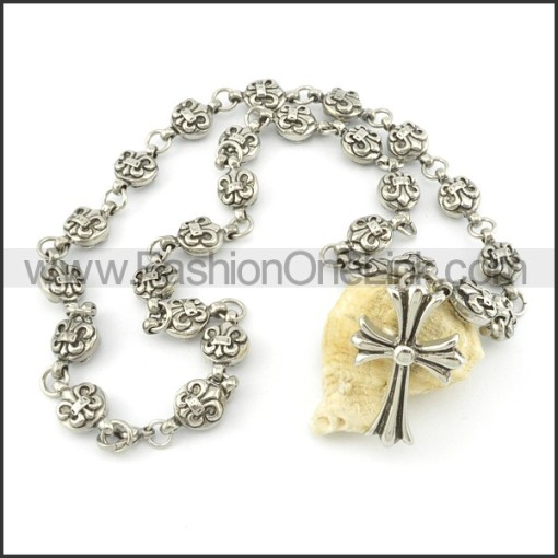 Chic Cross and Flower Casting Necklace   n000487