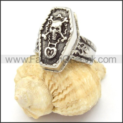 Stainless Steel Punk Skull Coffin Ring r000482