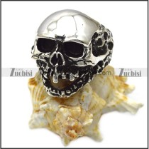 casting skull ring for men in sterling silver r006049