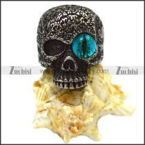Blacken Stainless Steel One Blue Evil Eye Skull Ring r007476