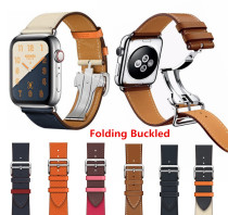 Leather Single Tour Deployment Buckle WITH LOGO Watchband for iWatch 44MM 40MM Replacement Wristband for Apple Watch Strap Belt