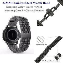 22MM Stainless Steel Metal Watch Band for Samsung Galaxy Watch 46MM Wristband Replacement for Gear S3 Classic/Frontier Bracelet