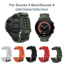 For Suunto 9/Suunto 9 Brao Outdoor Silicone Watch Band Strap Black Buckle Quick Release Rubber Replacement for Suunto 9/9 Brao