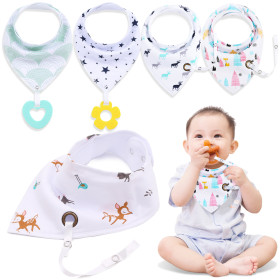 Kalevel 5 Pack Baby Bandana Bibs Unisex with Teether Pacifier Strap Bandana Bibs Organic Cotton Soft Adjustable Drool Bibs Snaps Closure 2 Layers Baby Shower Gifts Set for 0-3 Years Toddlers